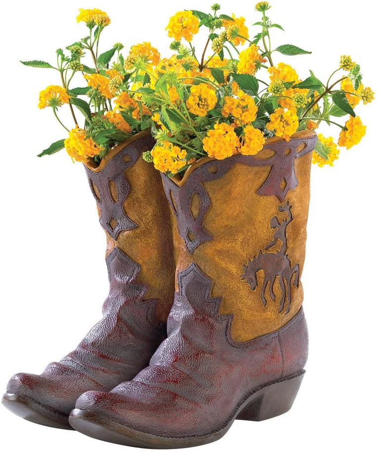 NEW RUSTIC COWBOY BOOT PLANTER FLOWER POT WESTERN GARDEN YARD PATIO DECOR – GIFT