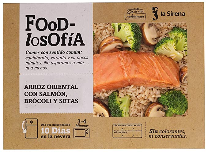 La Sirena Arroz Oriental Con Salmón, Brócoli Y Setas 400 g: Amazon ...