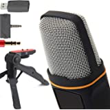 ZaxSound SF666PRO Professional Cardioid Condenser Microphone and Tripod Stand for PC, Laptop, iPhone, iPad, Android…