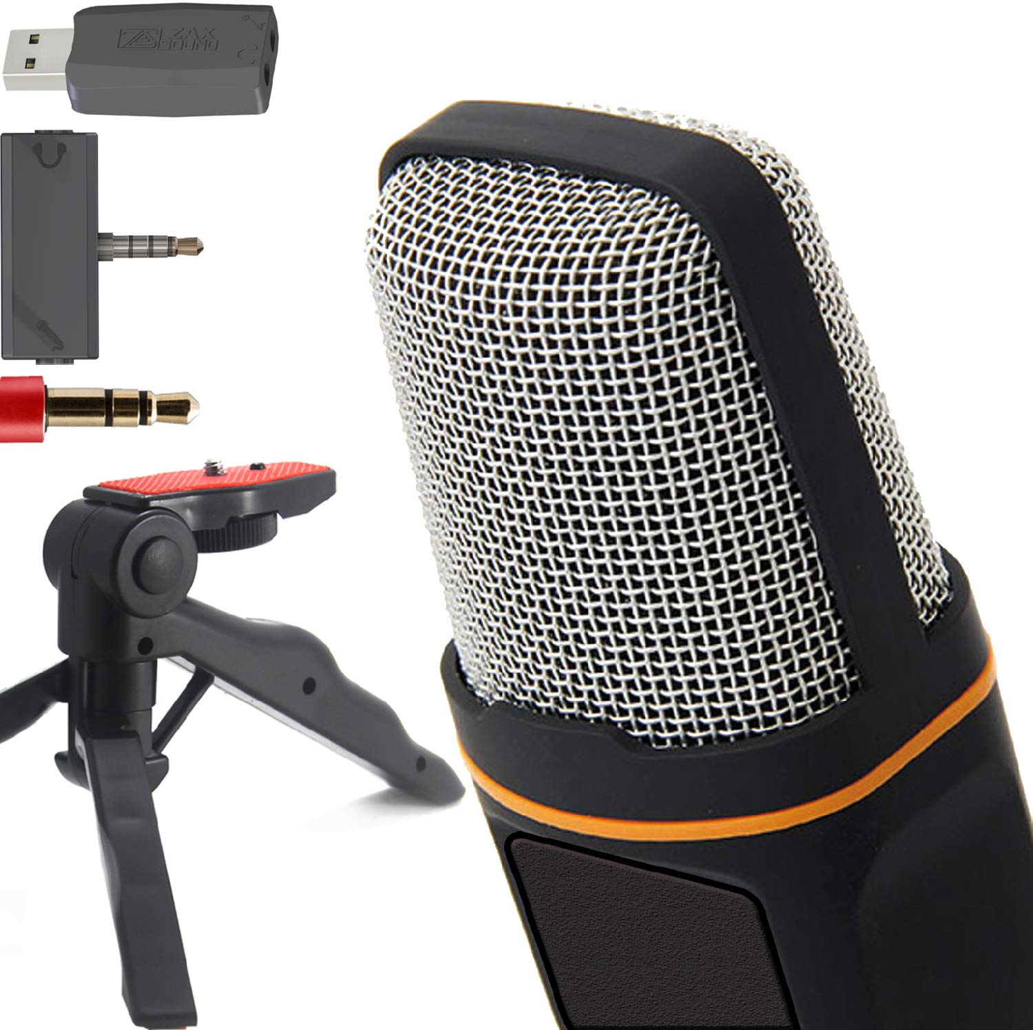 ZaxSound Professional Cardioid Condenser Microphone with Tripod Stand for PC, Laptop, iPhone, iPad, Android Phones, Tablets, Xbox and YouTube Recording, Black