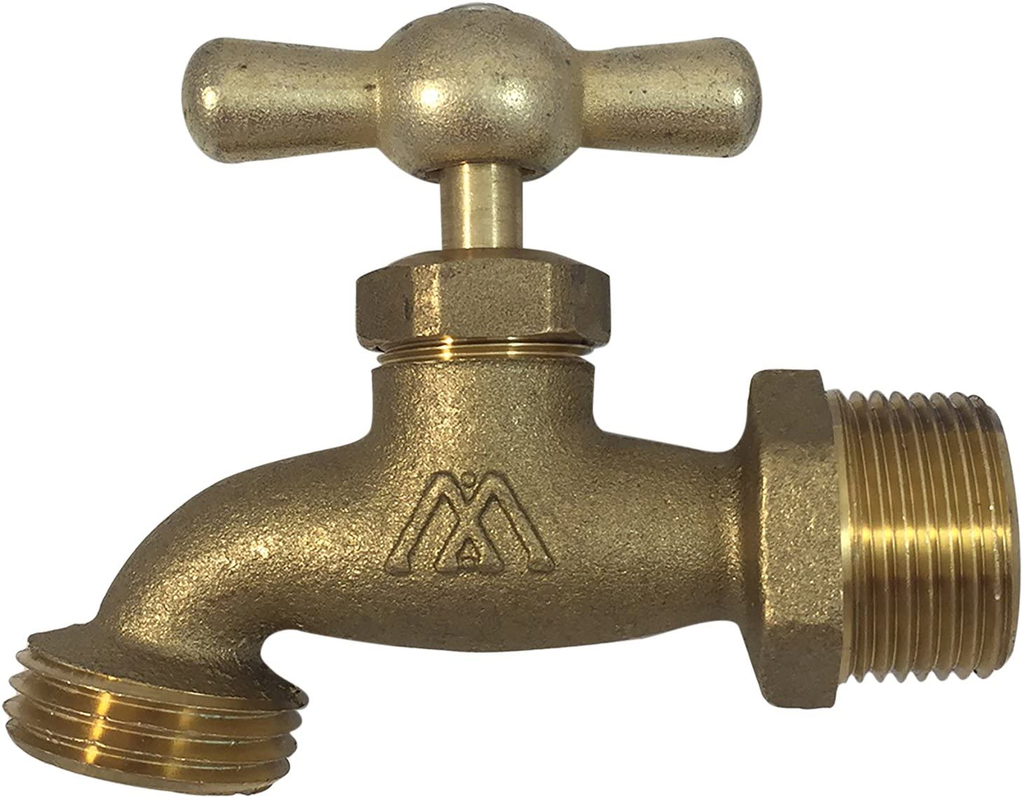 "Brass Hose Bibb Compares to Arrowhead Brass 3/4""Male NPT Inlet with 3/4 water hose outlet ideal for gardens and patios [79-112]Llave de Manguera o Nariz 3/4"""