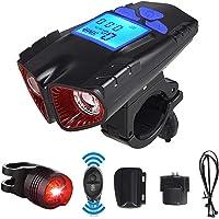 Conjunto de luz de bicicleta recarregável por USB – Farol de bicicleta durável com cronômetro e buzina, vida útil de 27h…