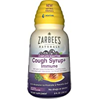 Zarbee's Naturals Complete Nighttime Cough Syrup + Immune with Dark Honey, Real...