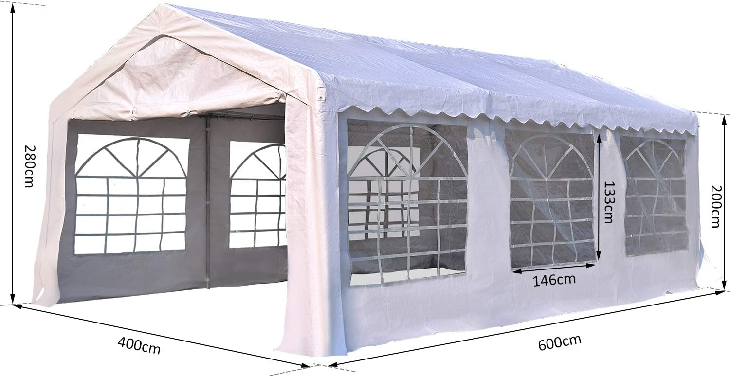 Outsunny 4 x 6m Heavy Duty Marquee Party Tent Wedding Garage Carport Canopy