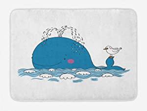 Ambesonne Whale Bath Mat, Sea Mammal Caricature Swimming in The Ocean and Splashing Water with Seagull, Plush Bathroom Decor Mat with Non Slip Backing, 29.5