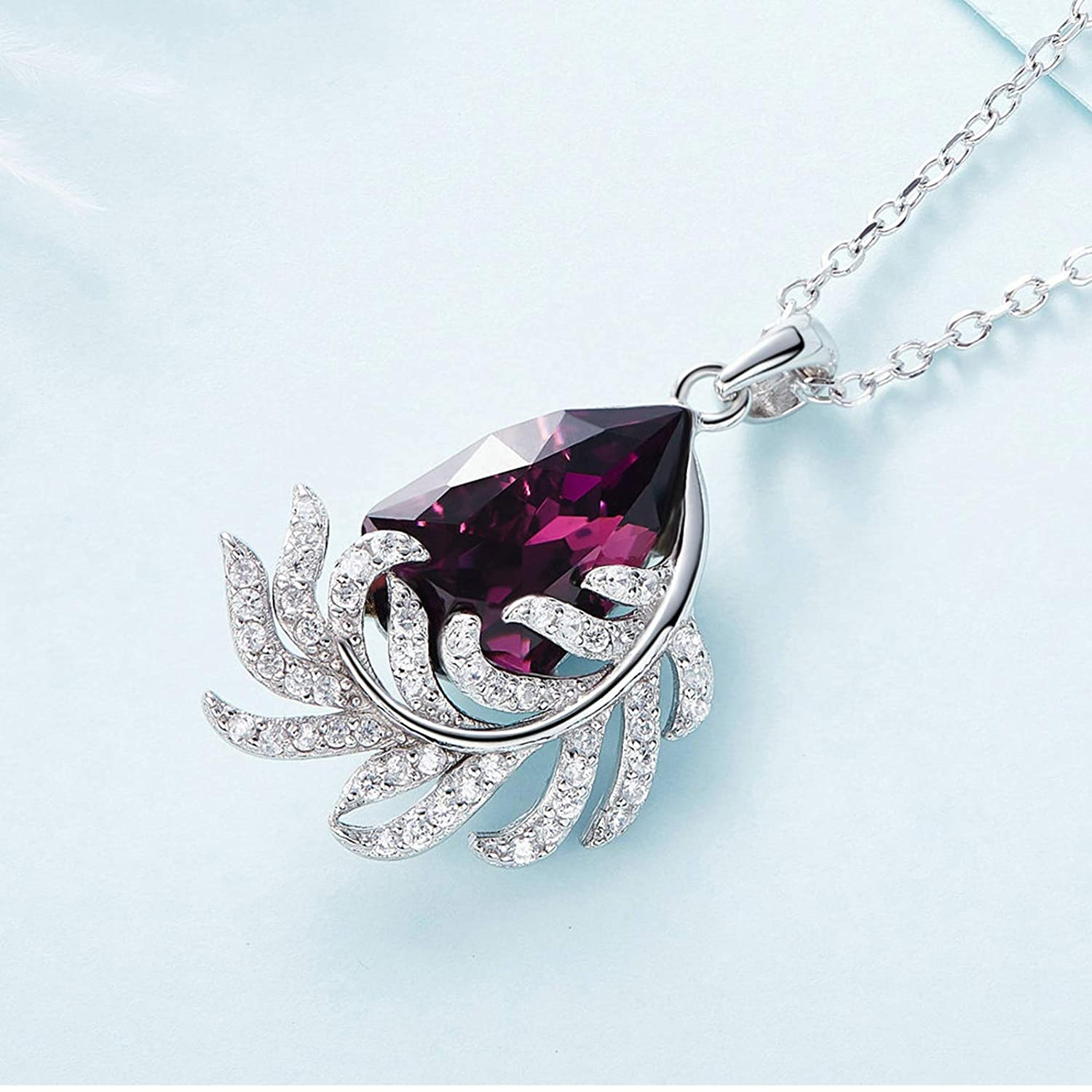Aooaz Silver Material Necklace Womens Girls Feather Pendant Necklaces Anniversary