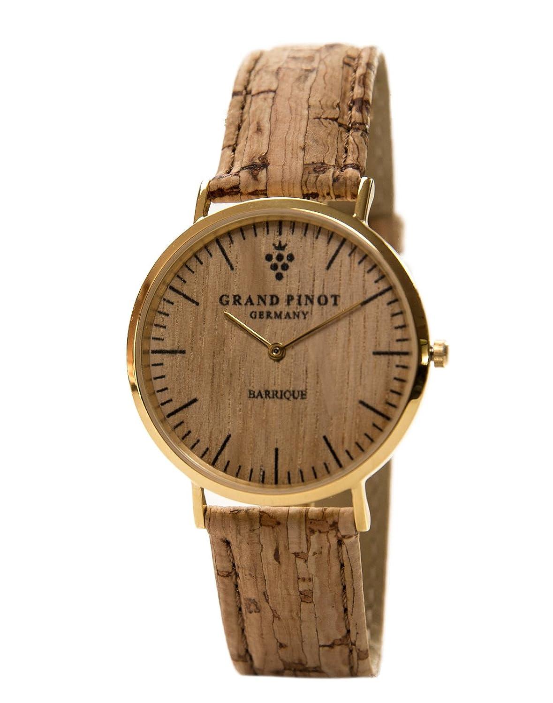 Grand Pinot flache Damen-Armbanduhr CLASSIC (36 mm) Gold aus Barriquefass mit Kork--Lederarmband (elegante Holzuhr