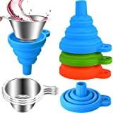6 Pack 3D Printer Accessories Include Collapsible Silicone Funnels and Stainless Steel Resin Filter Cups for Pouring Resin Ba