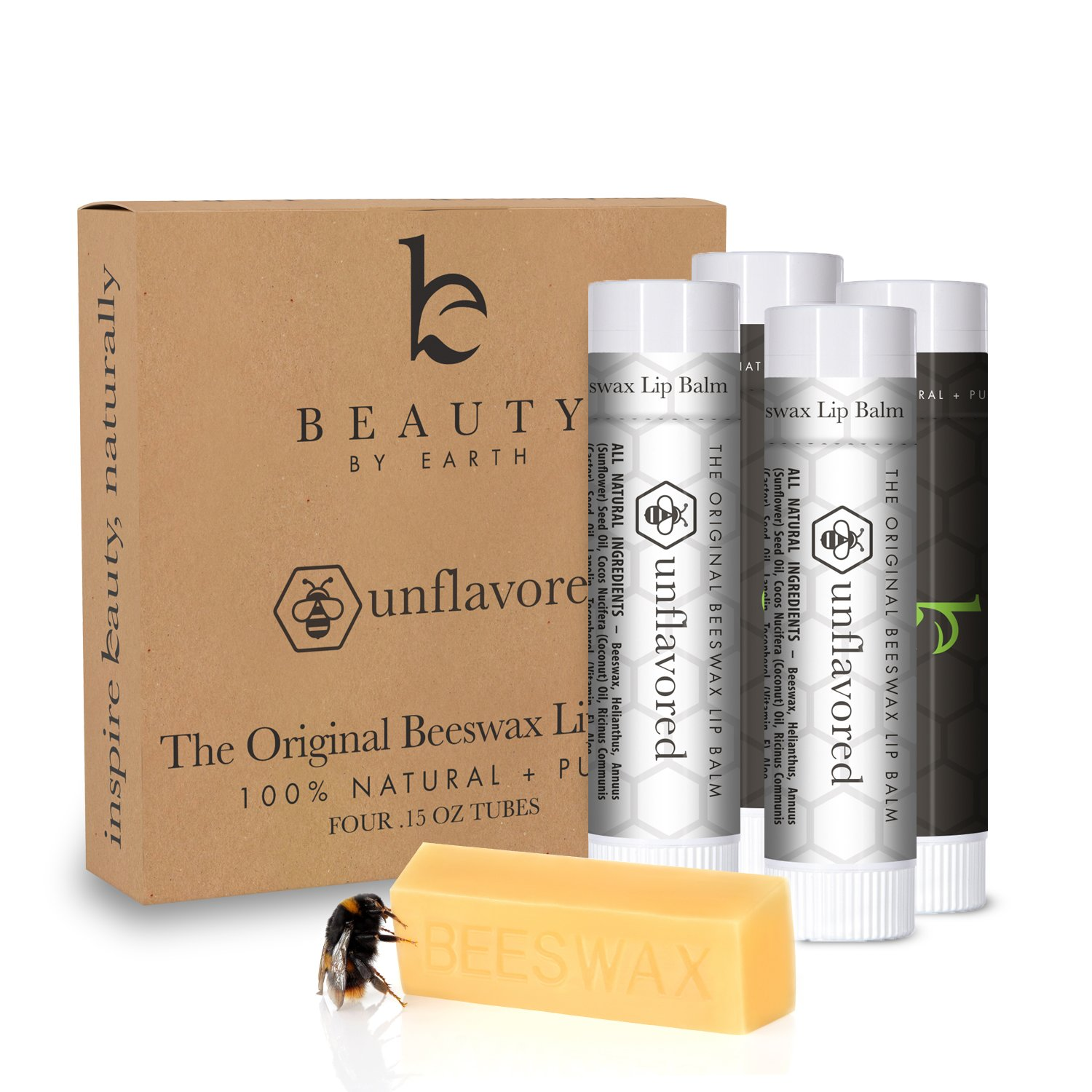 Organic Unflavored Lip Balm; With Pure and Natural Beeswax for Nourishing Repair and Hydrating Chapped, Cracked Lips; Long Lasting Chapstick for Smooth Moisturizing Therapy (4 Tubes in Pack) Beauty by Earth