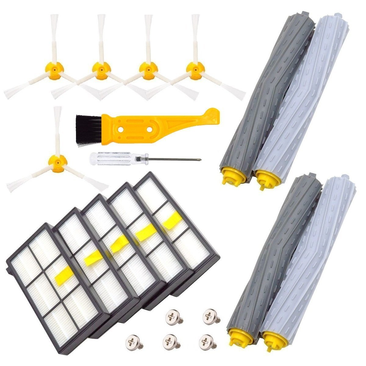 DerBlue Replacement Parts for iRobot Roomba 860 880 805 860 980 960 Vacuums, with 5 Pcs Hepa Filter, 5 Pcs 3-ArmedSide Brush, 2 Set Tangle-Free Debris Rollers by DerBlue