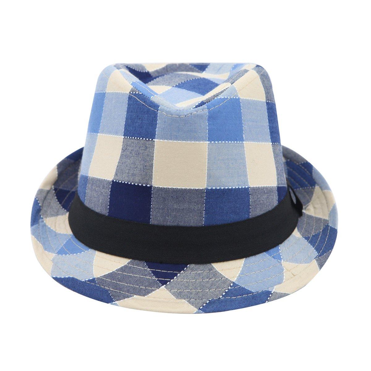 7ebc6003d91 Premium Multi Color Plaid Stitch Black Band Fedora Hat