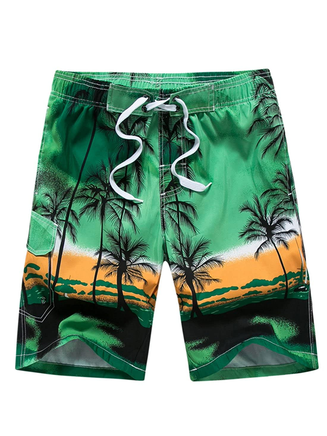 Aivtalk Summer Mens Beach Shorts Coconut Trees Boardshort