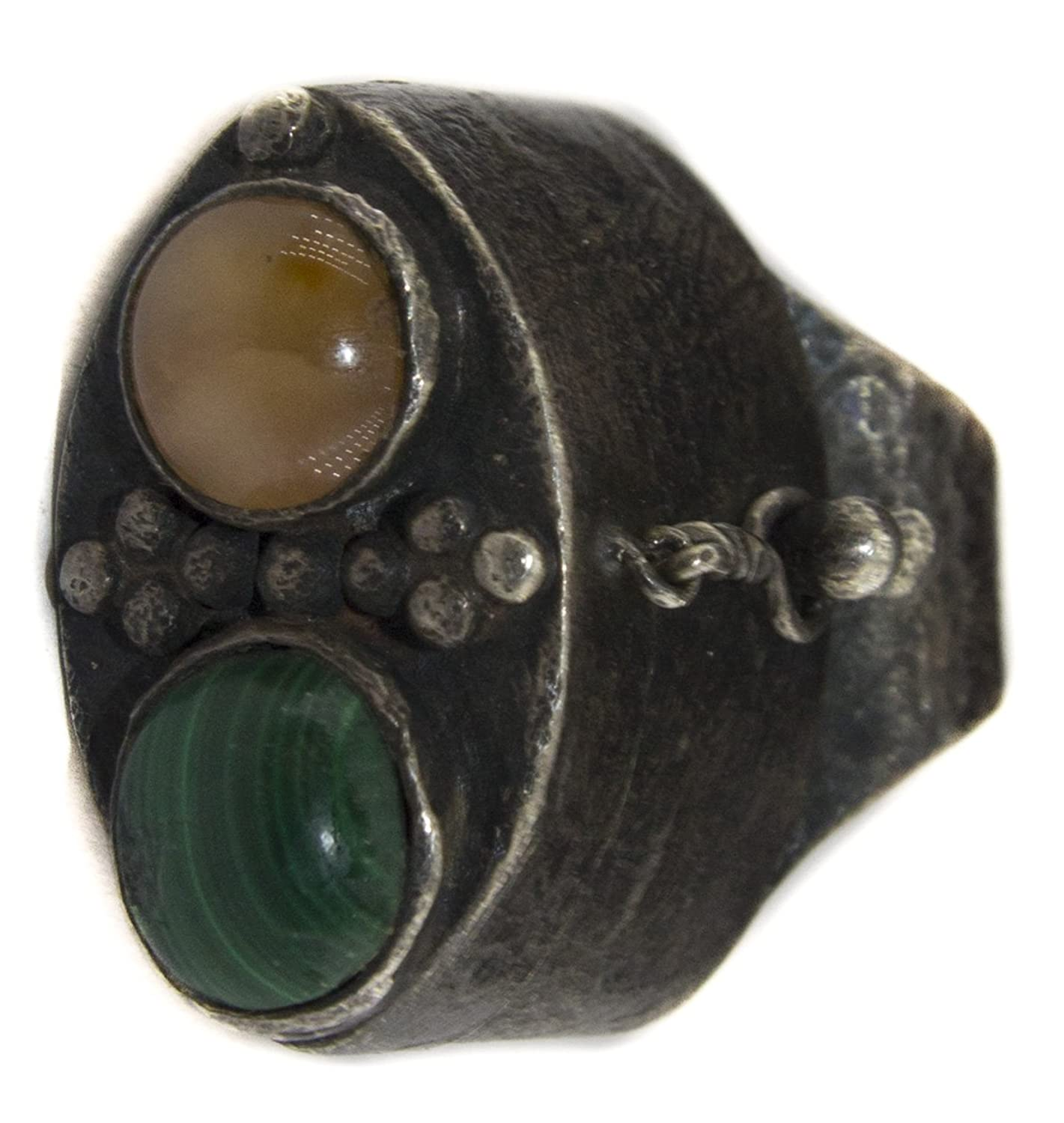 Antique Secret poison box sterling silver men ring handmade, agate and malachite natural gemstone