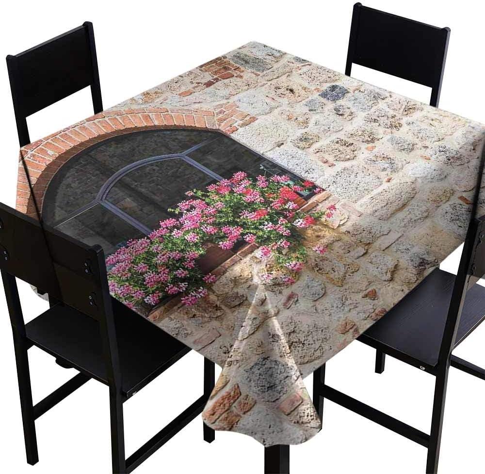 YSING Mantel Cuadrado para Interiores, Estilo Toscano, Arquitectura gótica, Estilo Antiguo, con diseño de escaleras en Color Toscano, Marfil, Rosa y salmón, Ideal para Bodas: Amazon.es: Hogar