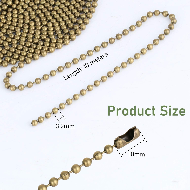 cha/îne /à Rouleaux perl/ée avec 30 connecteurs Assortis pour cha/îne de Traction de lumi/ère de Ventilateur de Plafond NB Extension de cha/îne de Traction perl/ée 10M Bronze