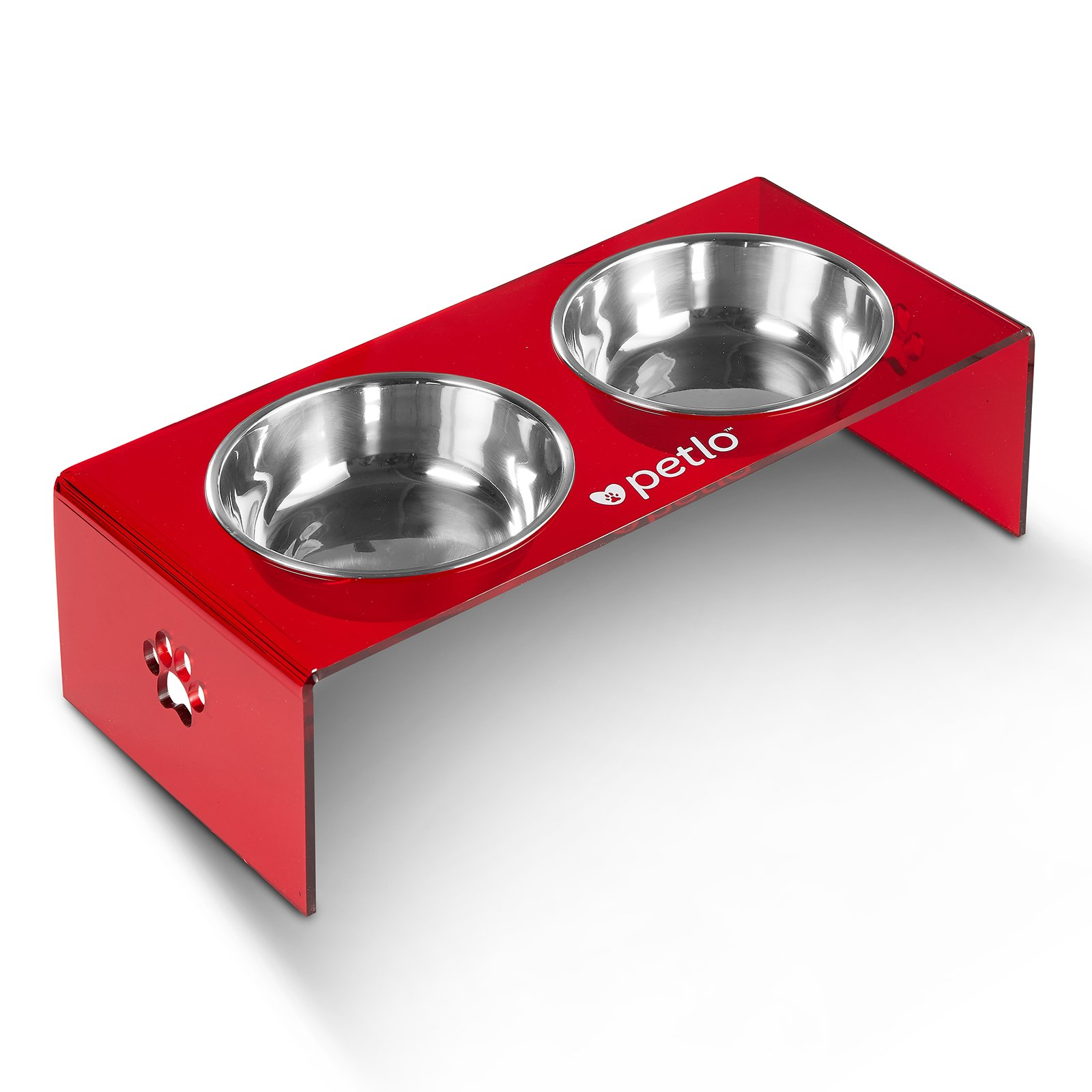 Petlo Raised Pet Feeder Bowls - Elevated Red Acrylic Feeding Stand with Two Stainless Steel Food and Water Bowls for Dogs and Cats by Petlo
