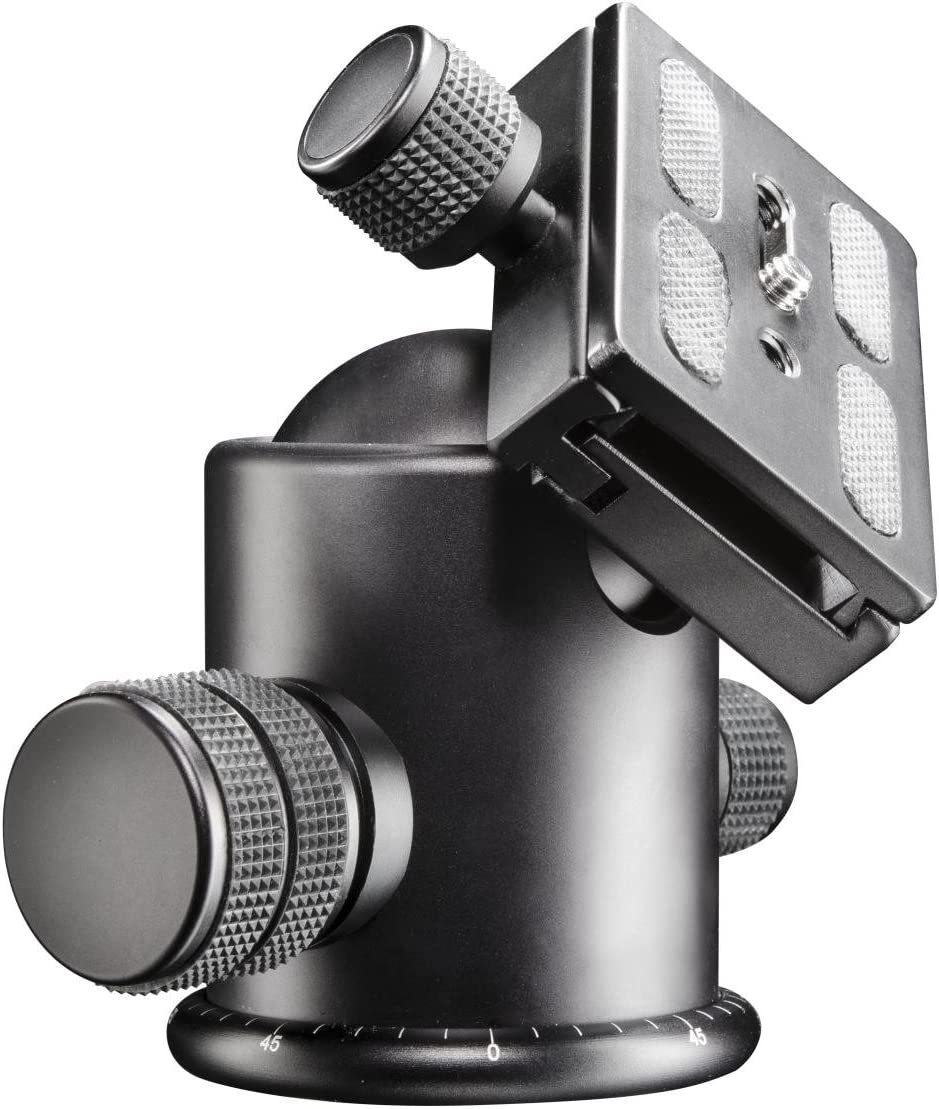 Walimex Pro FT-6665H Aluminium Pro-Kugelkopf Belastbarkeit 8 kg, Schnellwechselplatte, Panoramaskala
