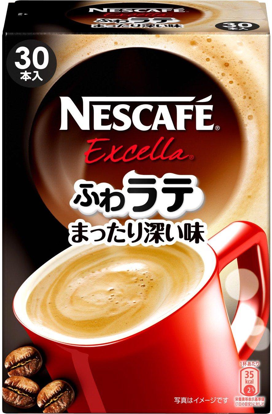Nescafe Excella Fuwa Latte Deep Flavor, Instant Caffe Latte, 1 Box including 30 Sticks(for 30 Servings) [Japan Import]