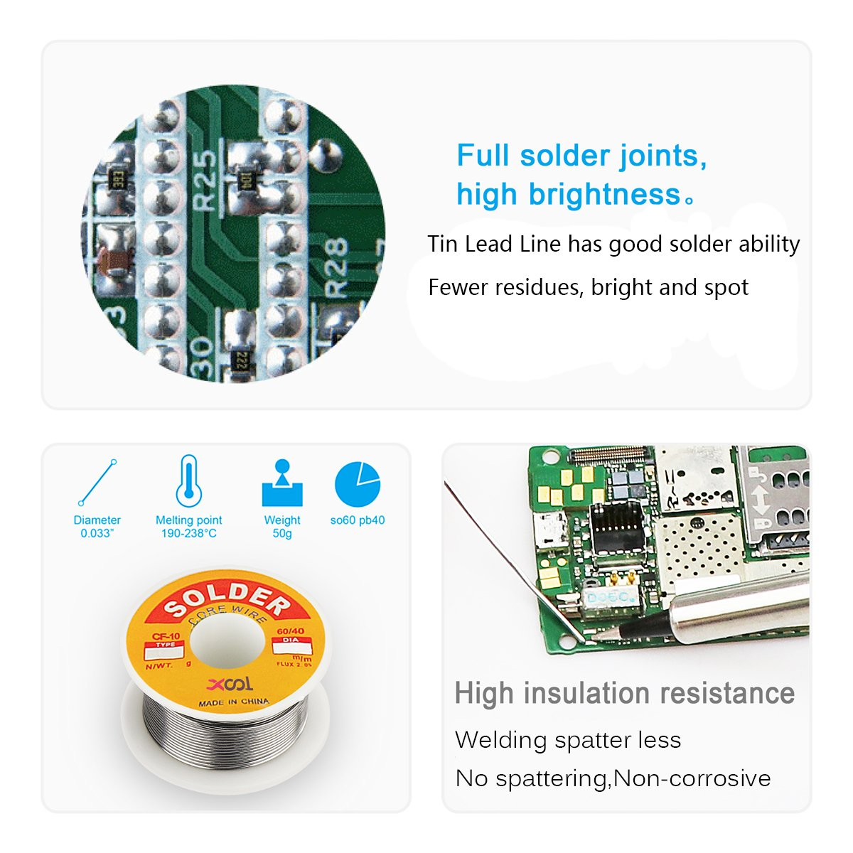 Soldering Iron Accessory Tool Kit, Including Soldering Stand with Convenient Solder Reel, Solder Tip Cleaning Wire and Holder, Tin Lead Line by XOOL (Image #6)