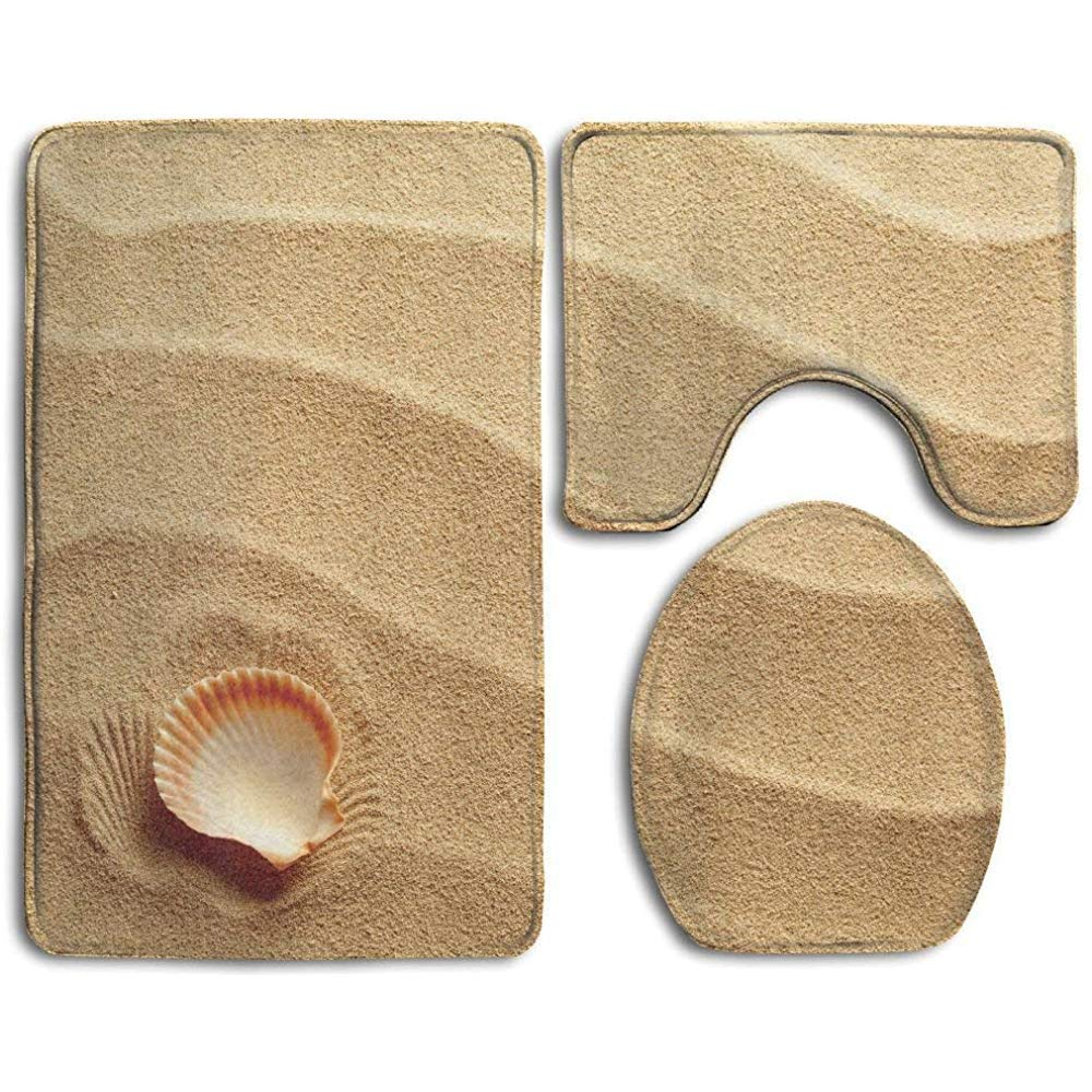 WHEYT Auf goldenem Sand Spirituelles Meerestier K/üstenthema Beachy Kunstdruck Creme Badezimmer Teppich 3 St/ück Badematte Set Contour Teppich und Deckel abdecken