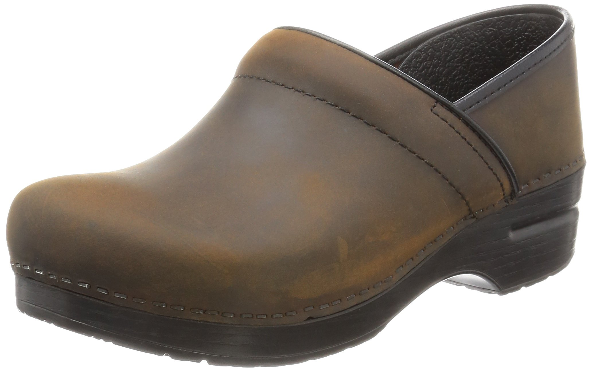 Dansko Women's Professional Oiled Leather Clog,Antique Brown/Black,38 EU / 7.5-8 B(M) US