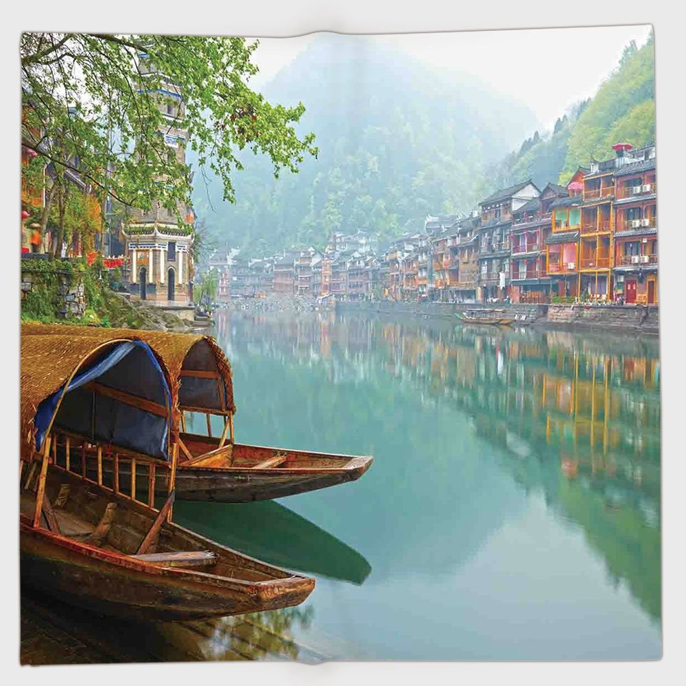 Cotton Microfiber Hand Towel,Farm House Decor,Old Chinese Suburbs Lake Canal with Wood Boats Foggy Asian Eastern Rural Scene,Multi,for Kids, Teens, and Adults,One Side Printing