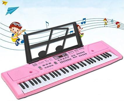 QXMEI Teclado Infantil Piano De 61 Teclas Muñeco Musical con Micrófono Cable De Alimentación Atril (Versión China),Pink