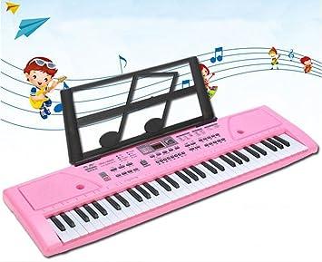 QXMEI Teclado Infantil Piano De 61 Teclas Muñeco Musical con Micrófono Cable De Alimentación Atril (Versión China),Pink: Amazon.es: Hogar