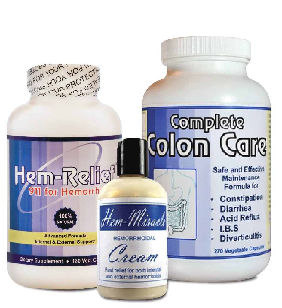 Complete Hemorrhoids Care – The only comprehensive approach that addresses both the cause and the symptoms related to hemorrhoids. Contains Hem Miracle Cream, Hem-Relief and Complete Colon Care.