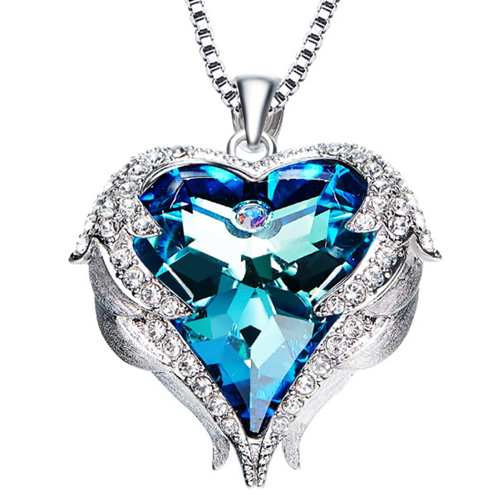 NEHZUS Heart of the Ocean Love Heart Pendant Necklace for Girlfriend Love Wife,Crystal from Swarovski