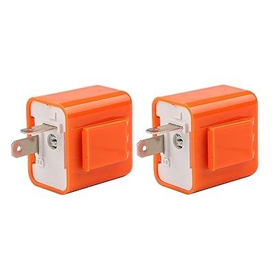 Motorcycle Flasher Relay, Sdootauto 2 Pcs 12V 2-Pin Adjustable Flasher Turn Signal Flasher Relay Hyper Indicator Flash- Orange…: Automotive