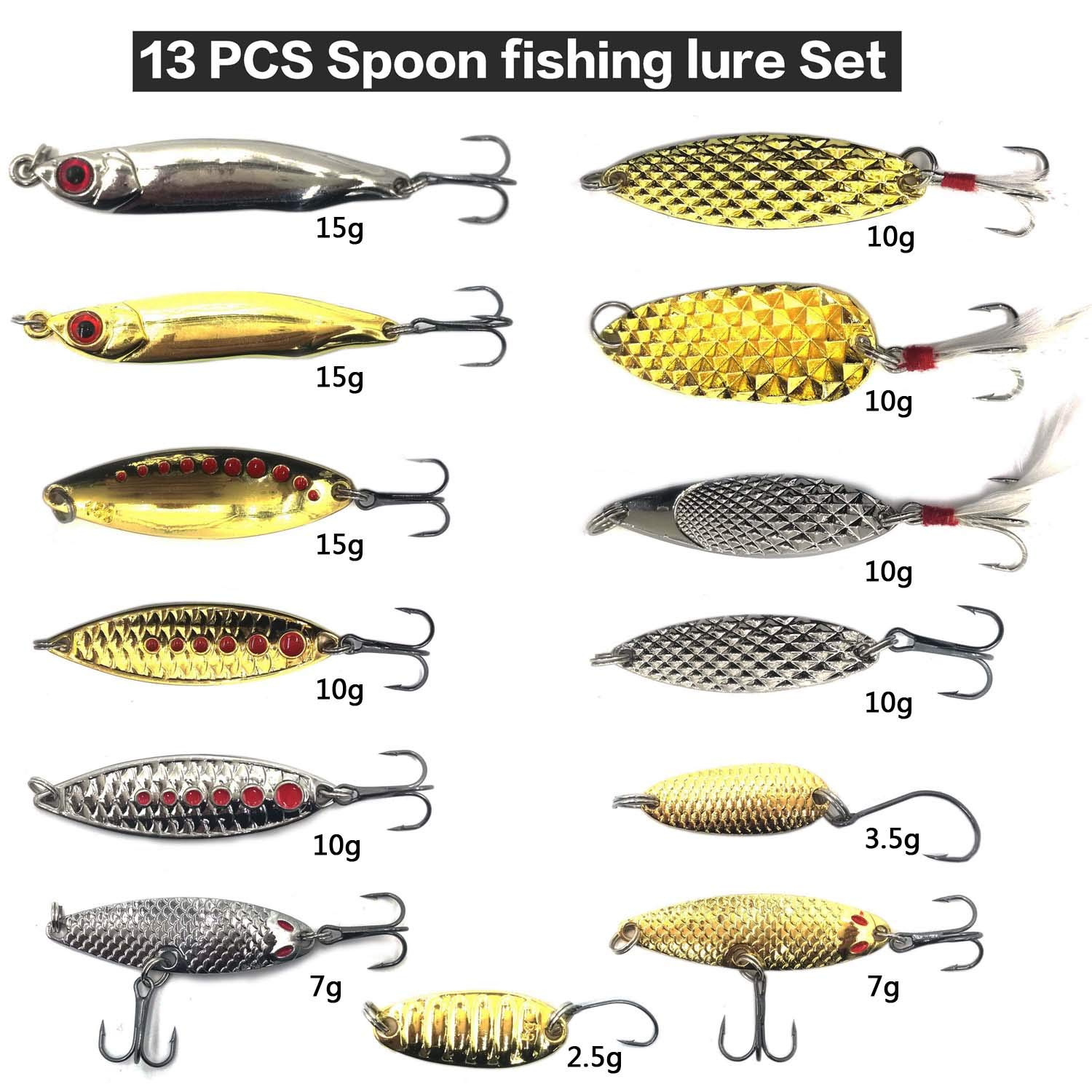 Hard Fishing Lure Set 43pcs Assorted Bass Soft Fishing Lure Kit Colorful Minnow Popper Crank Rattlin VIB Jointed Fishing Lure Set Hard Crankbait Tackle Pack For Saltwater or Freshwater (Spoon-30) by XBLACK (Image #1)