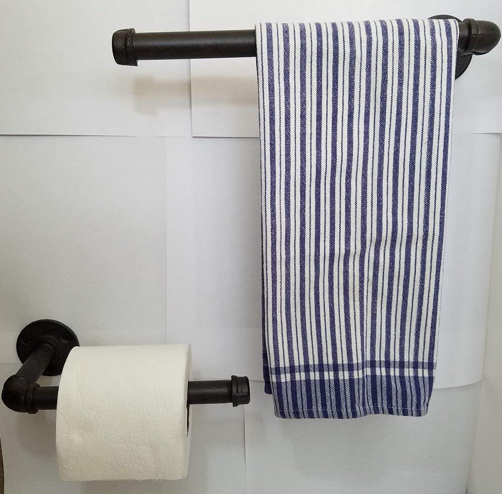 Rustic Bathroom Toilet Paper Holder 9'' and Hand Towel Rack Bundle, 11.5'' Industrial Country Look Made of Iron Pipe or Vertical Kitchen Paper Towel Holder and Towel Holder by Country Tin Works Home Collection (Image #6)