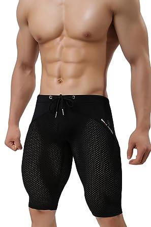 9fa3e03960 sandbank Men's Compression Sports Tight Shorts Mesh Workout Swim Gym Short  Pants(Black, Waistline