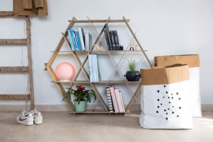 Wooden Bookcase, Living Room Furniture, Shelving Unit, Hexagonal Shelf,  Honeycomb Shelves,