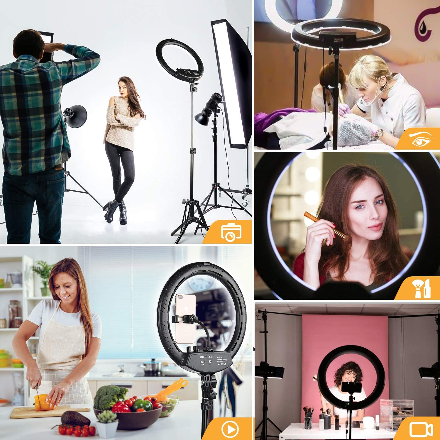 Ring Light with Tripod Stand Yesker 14 Inch LED Ringlight Kit with Phone Holder Adjustable Color Temperature Tiktok Circle Lighting for iPhone Camera for Vlog, Makeup, YouTube, Video Shooting : Camera & Photo