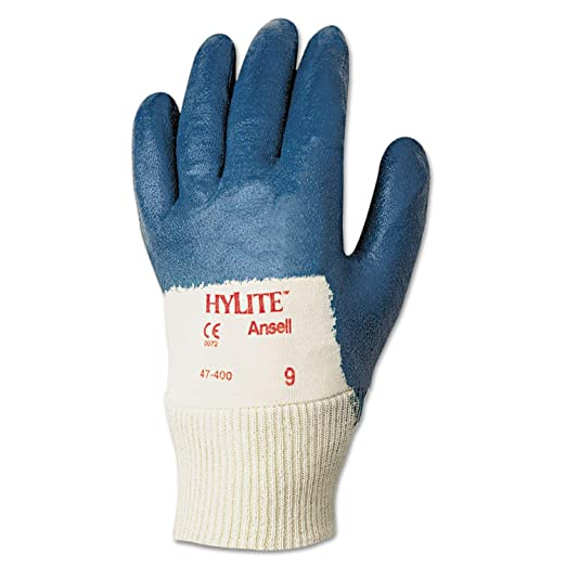 Pack of 12 Size 10 9.5 Length 0.42 Height 9.5 Length 5 Wide 0.42 Height Ansell 104460 HyFlex 11-920 Blue Heather Nylon Gloves with Blue Nitrile Palm Coating Blue 5 Wide