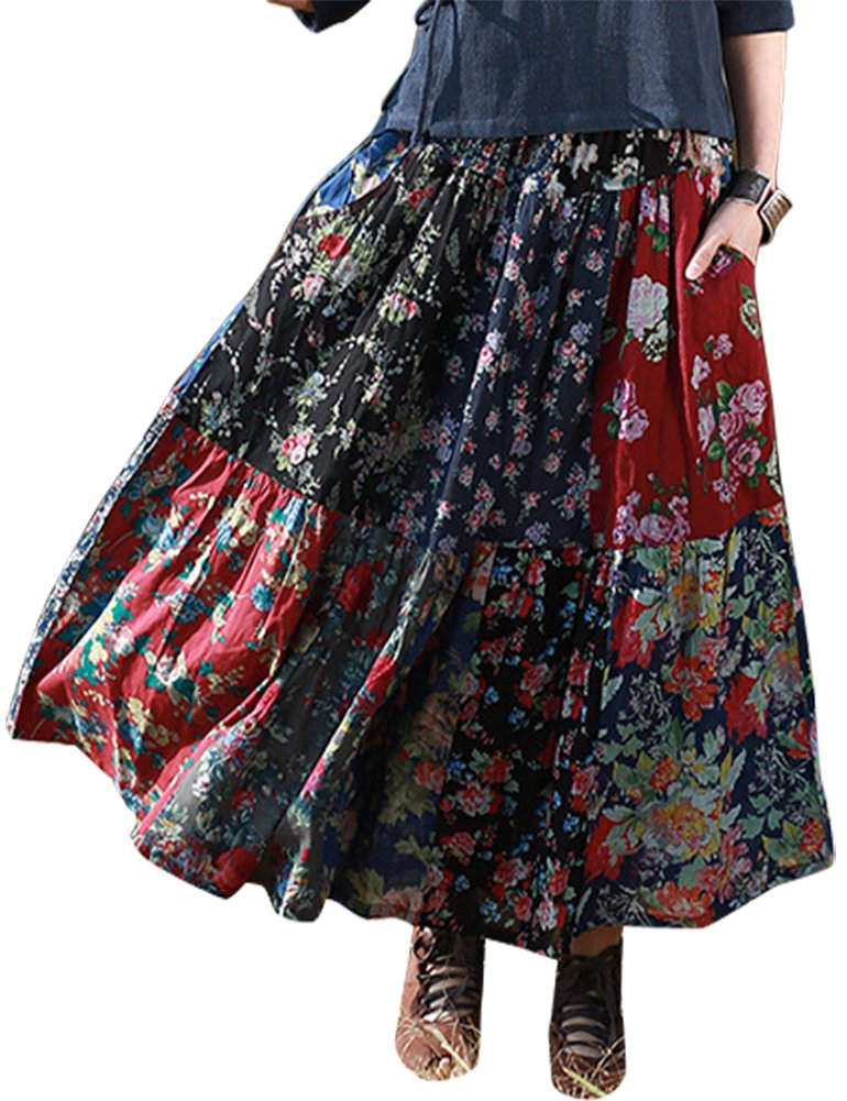 IDEALSANXUN Women's Spring/Summer Floral Pleated Retro A-Line Cotton Linen Long Maxi Skirt (#2 Flower Patchwork, One Size(2-10))