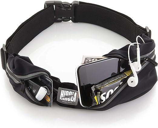 Hirola cangurera premium Cinturón deportivo de alta calidad con 2 bolsas; perfecta para correr hacer ciclismo crossfit ¡y mucho más! Color negro