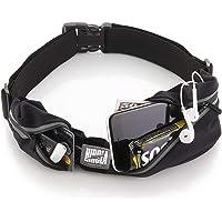 Hirola Cangurera Premium/ Cinturón Deportivo de alta calidad color Negro con 2 Bolsas perfecta para correr, ciclismo, CrossFit y más!