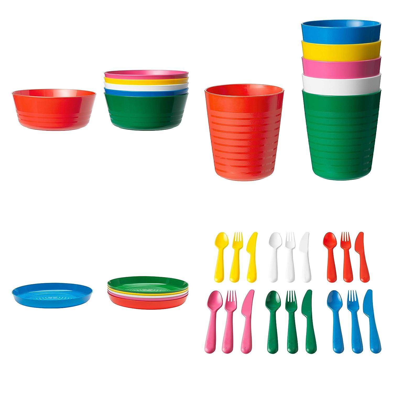 Ikea KALAS 36-Piece Children's Dinnerware Set, New Colors