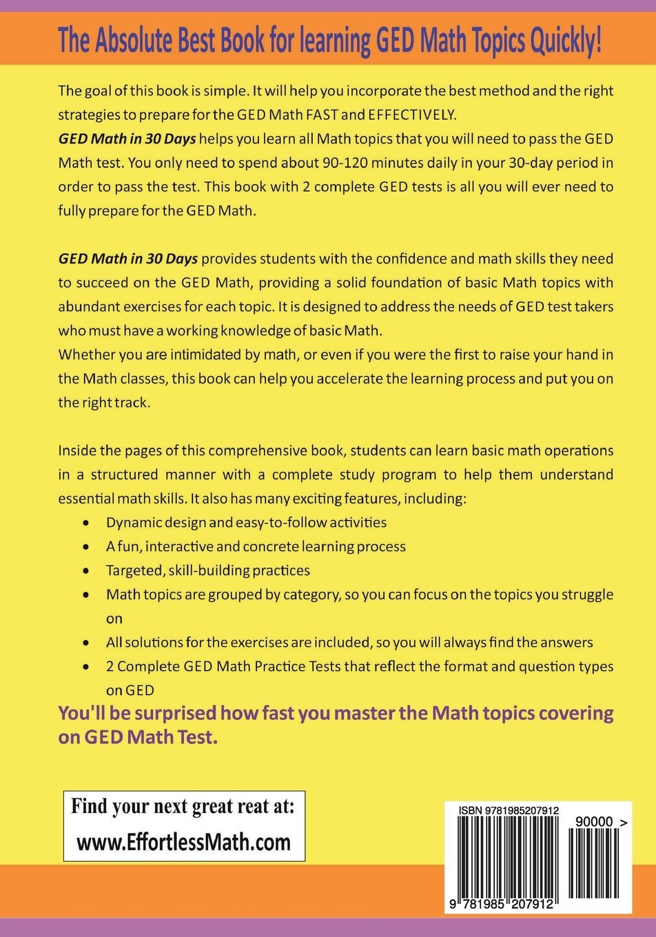 GED Math in 30 Days: The Ultimate Crash Course to Preparing for the GED  Math Test: Reza Nazari, Ava Ross: 9781985207912: Amazon.com: Books