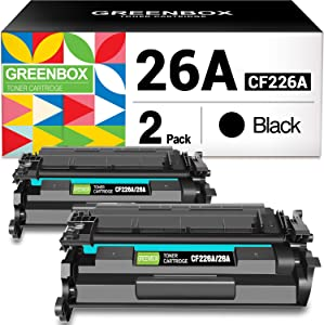 GREENBOX Compatible Toner Cartridge Replacement for HP 26A CF226A 26X CF226X for HP Laserjet Pro M402n M402dn M402dw M402dn M402dne HP Laserjet Pro MFP M426dw M426fdw M426fdn Printer (2 Pack)