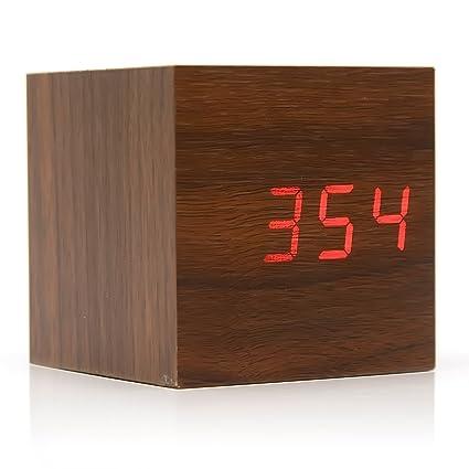 Gosear Cubo Madera LED Digital Cuadrado con Rojo Luz/Mini Reloj Despertador con Tiempo y