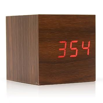 Gosear Cubo Madera LED Digital Cuadrado con Rojo Luz/Mini Reloj Despertador con Tiempo y Temperatura Pantalla,Marrón: Amazon.es: Hogar