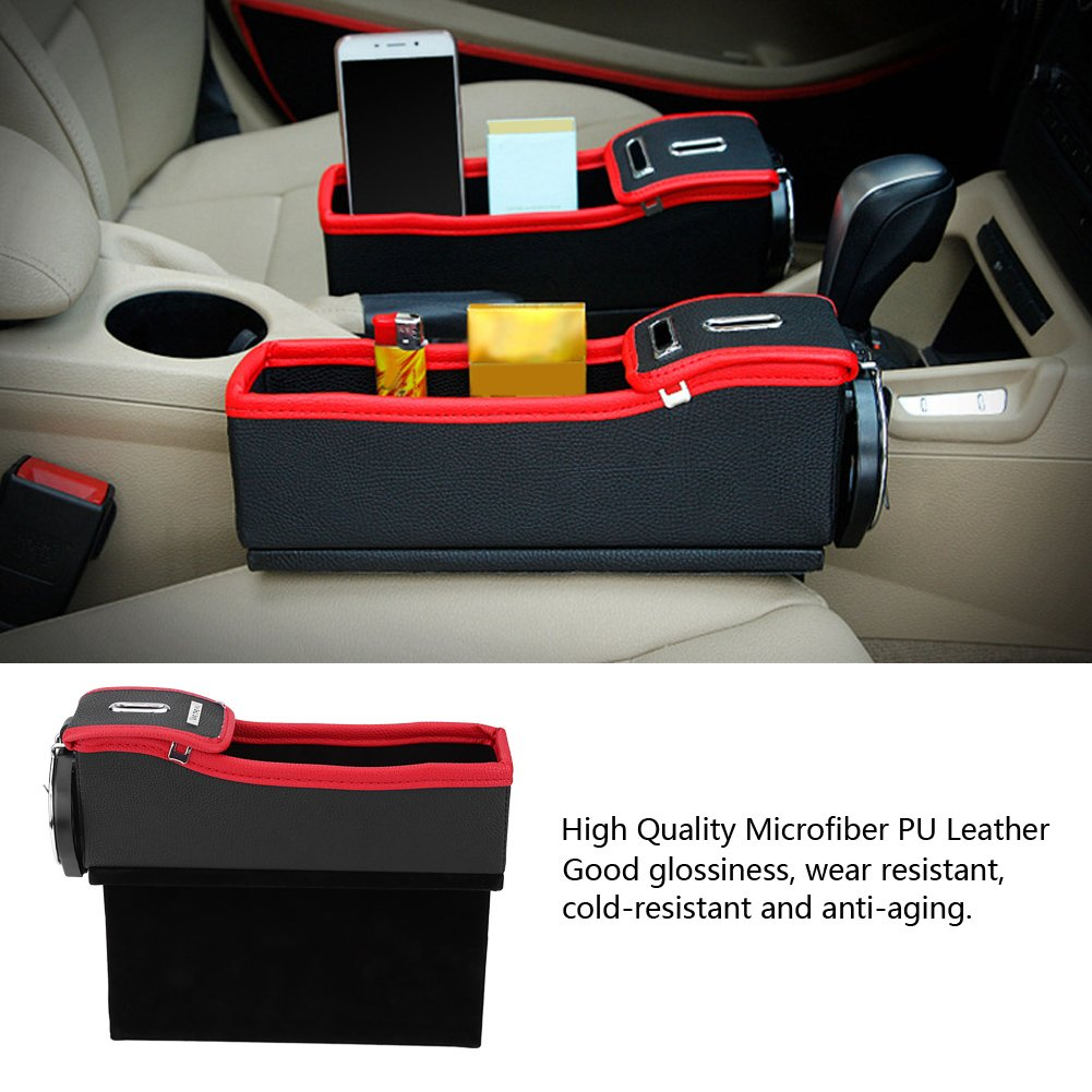 Qiilu Car Seat Gap Crevice Organizer Storage Box Bag Holder Pocket for Beverage Wallet Phone Coins Driver Seat
