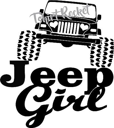 Amazon Com Jeep Decal Jeep Girl Heart Headlights Vinyl Car Decal