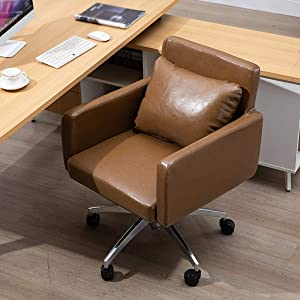 QNN Desk Chair,Home Office Chair Fashion Sofa Task Chairs,Swivel Computer Desk Chairs,Durable and Stable, Height Adjustable,Brown