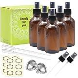 Mavogel Pack of 6, 4 oz Amber Glass Bottles with Black Fine Mist Sprayers-Including 2 Extra Black Fine Mist Sprayers, 2 Stainless Steel Mini Funnel, 2 Transfer Pipettes, 6 Bottle Labels