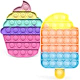Kaqulec Pop on Its Push Popper Fidget Toys 2 Packs (Popsicle & Cupcake), Silicone Pop Bubble Sensory Toy Popper Gift for Kids
